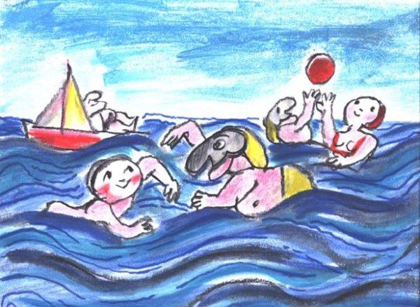 EMANUELE LUZZATI - serigrafia Luglio - Al mare-0