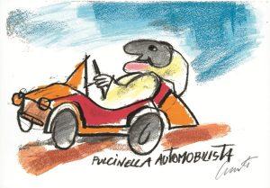 Pulcinella sportivo automobilista - Luzzati serigrafia