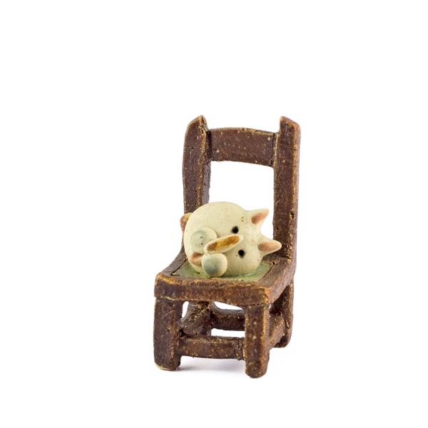 RICCARDO BIAVATI - piccola sedia con gatto-0