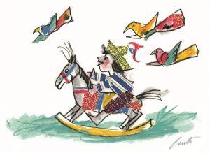 EMANUELE LUZZATI - Sul cavallo a dondolo