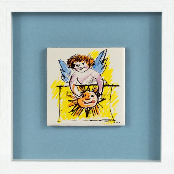 Angelo del Sole piastrella con cornice Luzzati