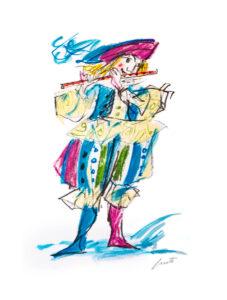 Flautista Luzzati serigrafia