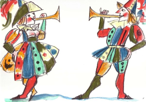 Emanuele Luzzati serigrafia 'I trombettieri'