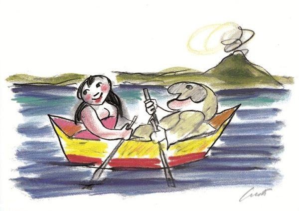 Luzzati serigrafia maggio in barca Pulcinella